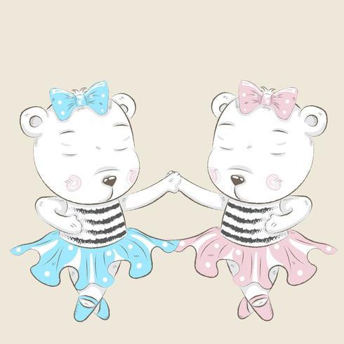 ballerines mignonnes petit ours tenant par la main vecteur