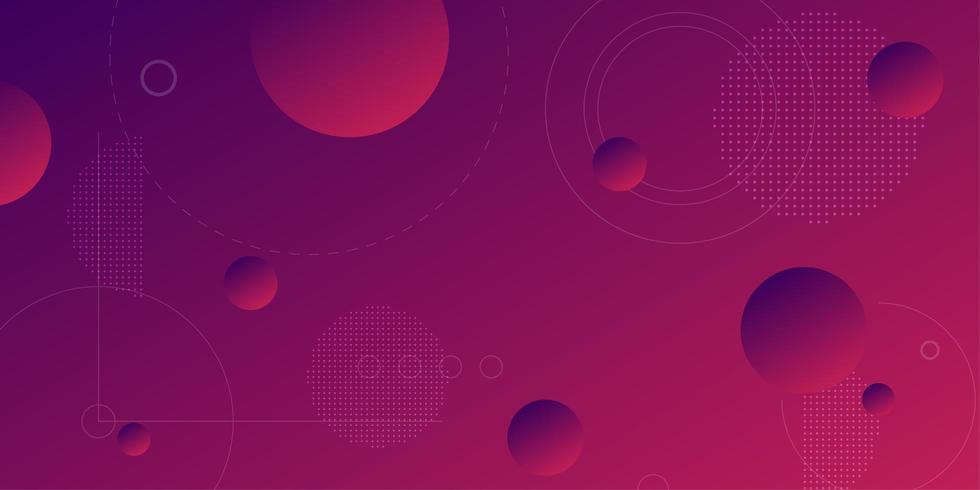 Fond dégradé violet rose avec des sphères 3d flottantes vecteur