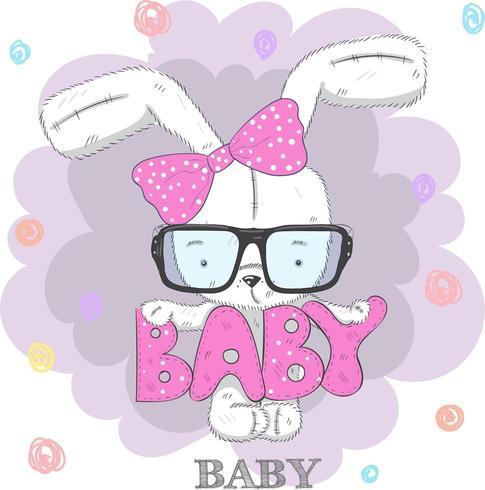 joli bébé lapin portant des lunettes et un arc vecteur