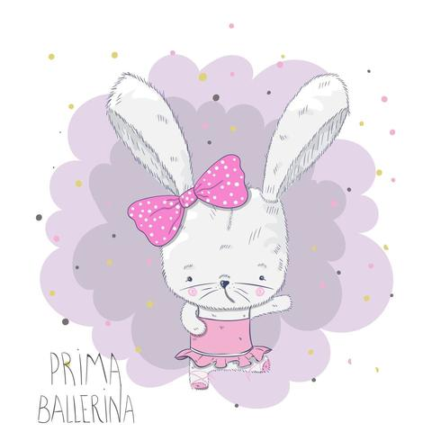 mignon bébé ballerine lapin vecteur