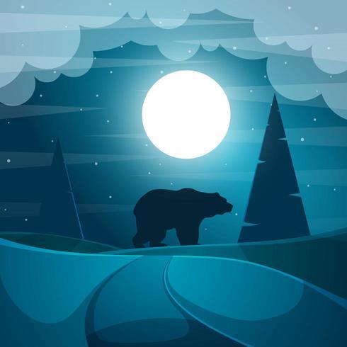 Illustration d'ours. Paysage de nuit de dessin animé. vecteur