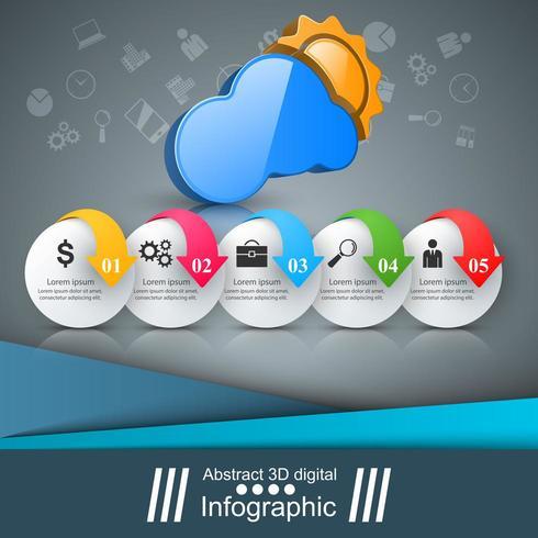 Infographie de l'entreprise. Soleil, météo, icône de nuage. vecteur