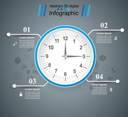 Horloge, montre, icône du temps. Infographie de quatre affaires. vecteur