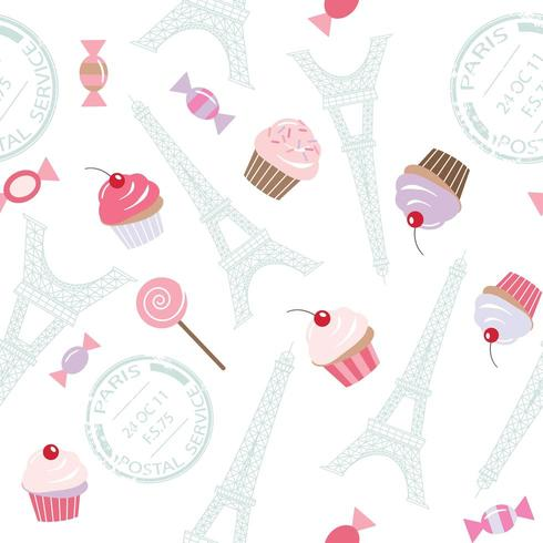 Modèle sans couture avec la tour Eiffel et des cupcakes. vecteur