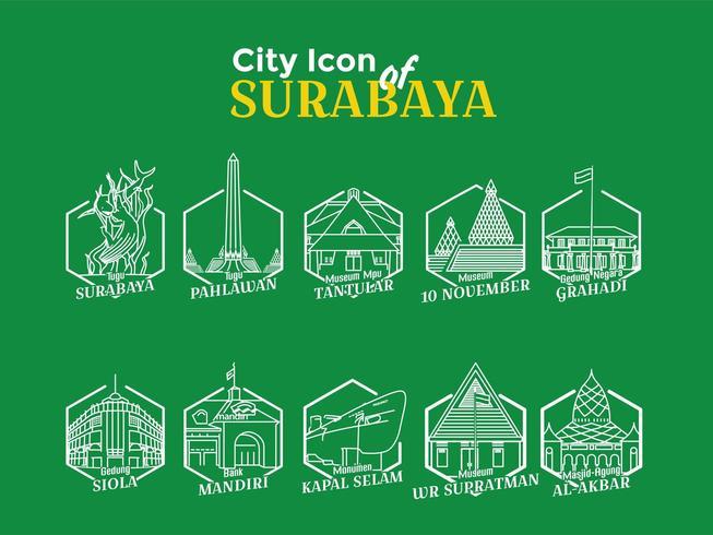 Icônes de la ville de Surabaya vecteur
