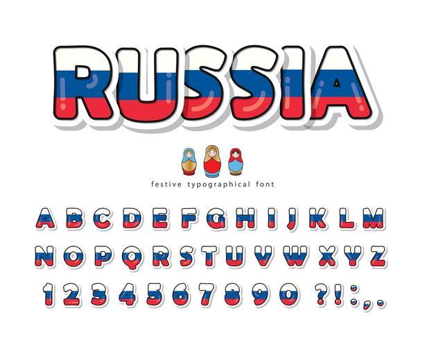 Police de dessin animé de Russie avec les couleurs du drapeau national russe. vecteur