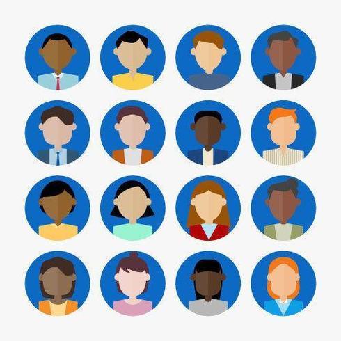 Ensemble d'icônes d'avatar d'hommes et de femmes. vecteur