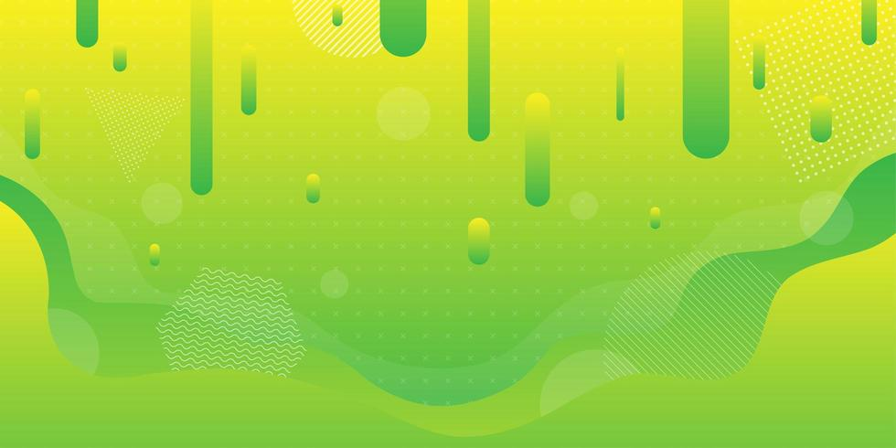 Fond de formes fluides dégradé vert et jaune vif vecteur