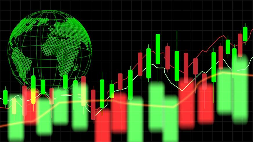 Tableau graphique de bougie bâton de négociation des investissements boursiers avec globe vecteur