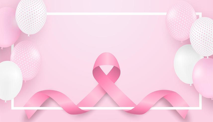 Conception de sensibilisation au cancer du sein avec ruban rose, ballons et cadre blanc vecteur