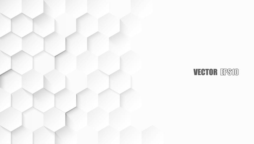 Hexagone en relief, fond blanc en nid d'abeille vecteur