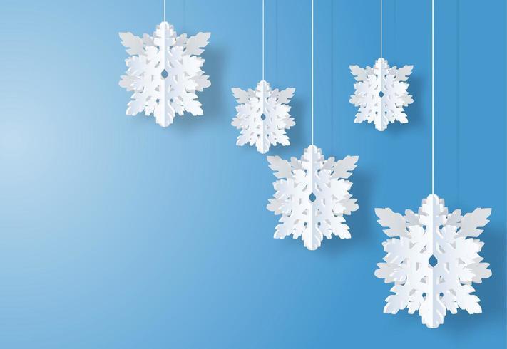 Design de Noël avec des flocons blancs style art papier vecteur