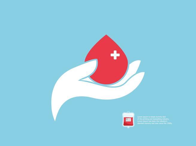 Concept de donneur de sang, main humaine avec du sang vecteur