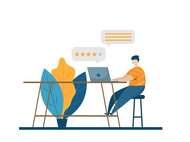 service à la clientèle en ligne donnant des commentaires vecteur