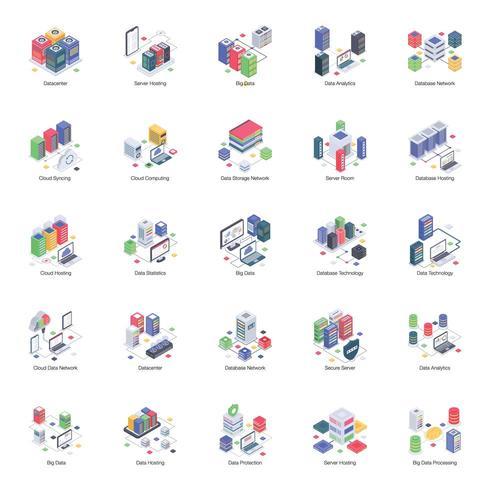 Illustrations isométriques du serveur de base de données vecteur