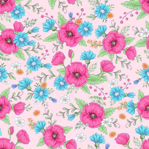 Modèle sans couture de coquelicots roses et marguerites bleues vecteur