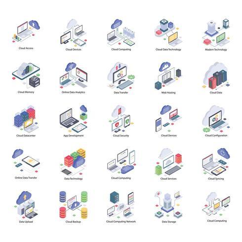 pack d'icônes de technologie cloud vecteur