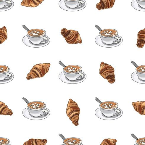 Coupe de modèle sans couture de café ou de cappuccino avec des croissants. vecteur