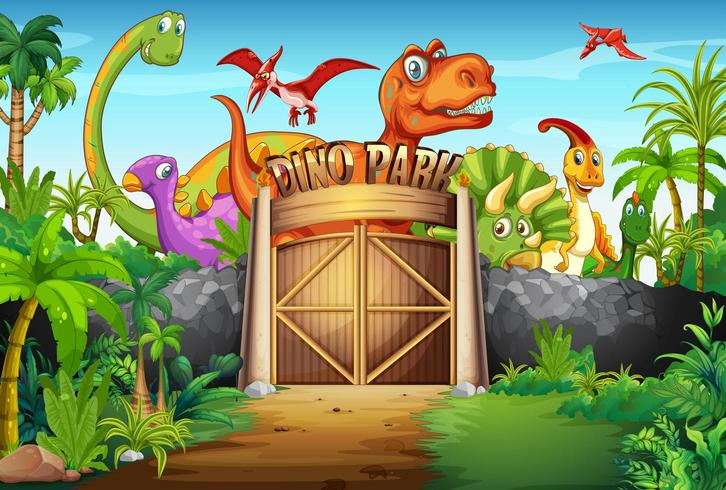 Dinosaures vivant dans le parc vecteur