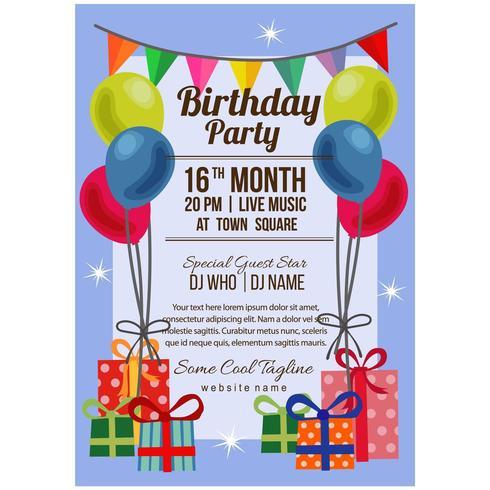 modèle d'affiche fête style anniversaire plat avec boîte présente de drapeau ballon vecteur