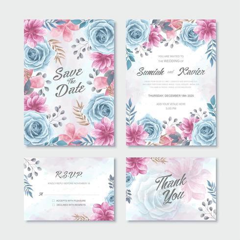 Set de modèles de cartes d'invitation de mariage de fleurs aquarelle rose bleu vecteur