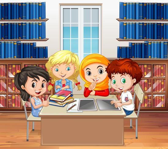 Etudiants lisant des livres dans la bibliothèque vecteur