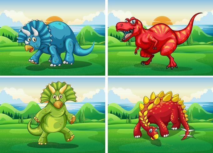 Quatre dinosaures debout dans le champ vecteur