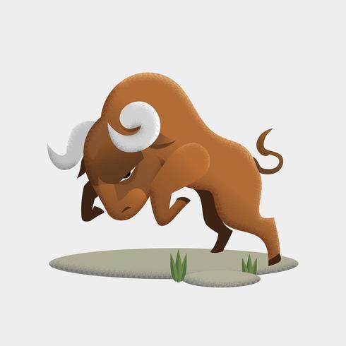 Dessin animé taureau en colère vecteur