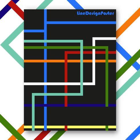 Affiche intérieure de la ligne colorée vecteur