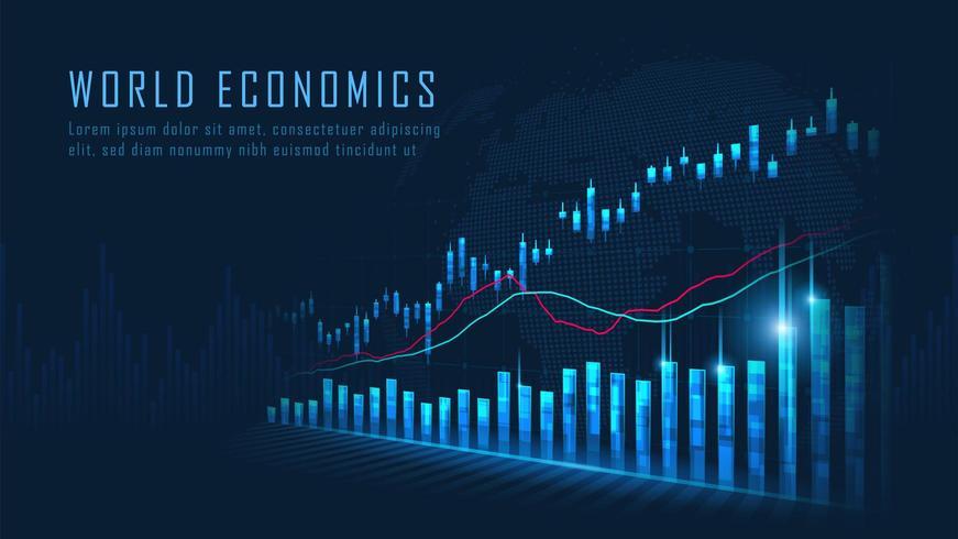 Marché boursier ou concept de graphique de trading forex vecteur