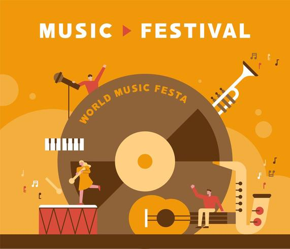 Affiche du festival de musique. vecteur