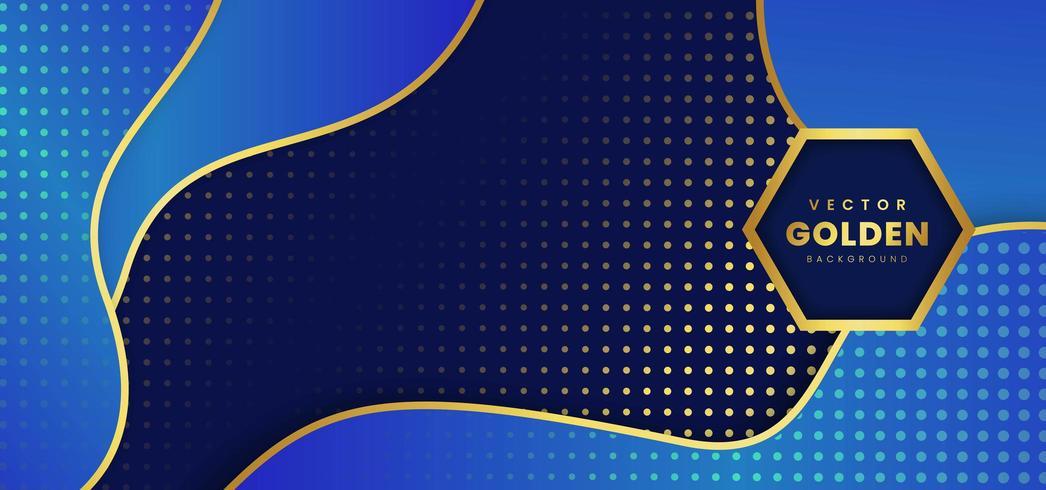 Fond bleu de luxe doré vecteur