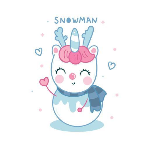 Bonhomme de neige de Licorne mignon dessin animé Kawaii personnage de Noël hiver vecteur