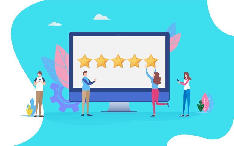 Utilisateur donnant cinq étoiles vecteur