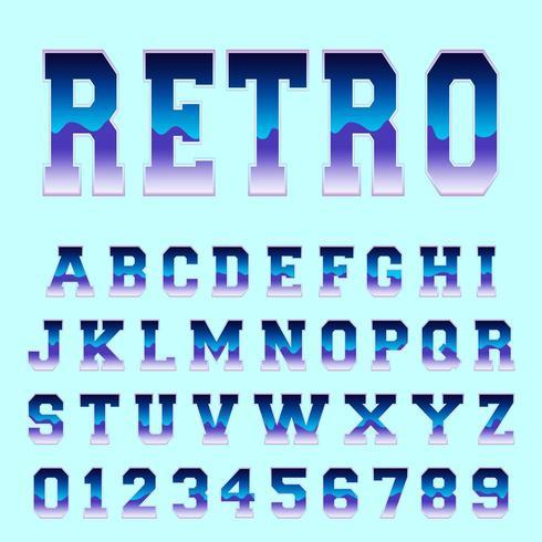 Modèle de police alphabet rétro vecteur
