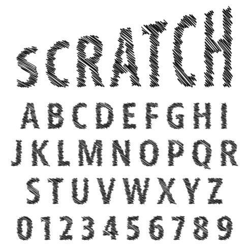 Modèle de police alphabet croquis vecteur