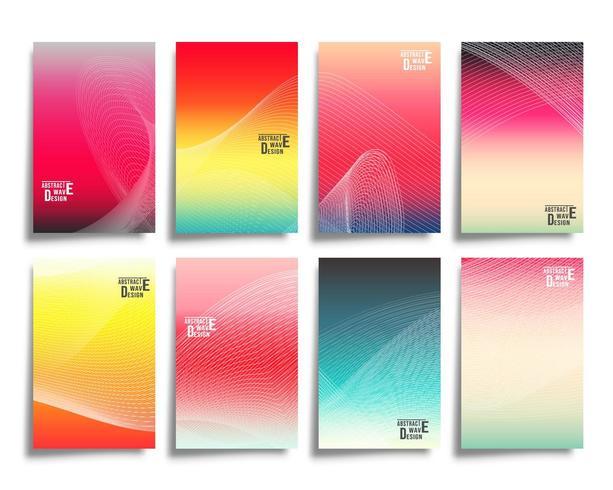 Vagues de lignes abstraites avec fond dégradé coloré vecteur