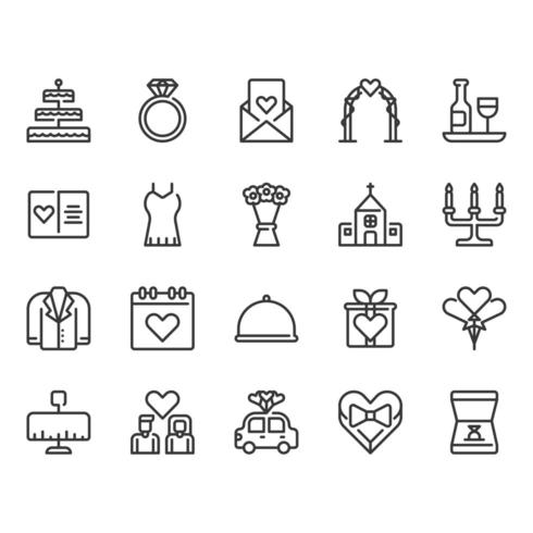 Jeu d'icônes liées au mariage vecteur