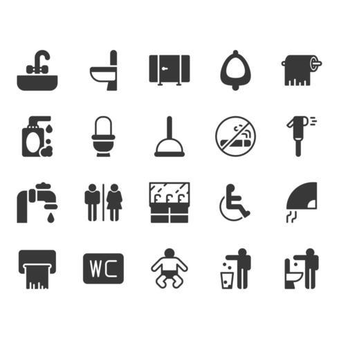 Jeu d'icônes de toilettes vecteur