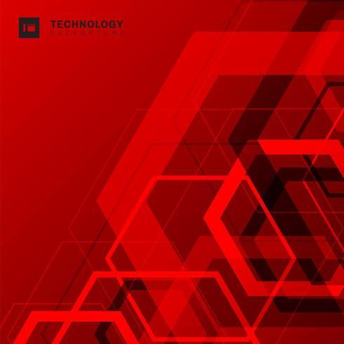 Abstrait géométrique chevauchement forme hexagone technologie numérique concept futuriste fond rouge vecteur