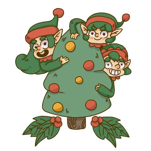 Elfe de Noël se cachant derrière un arbre de Noël vecteur