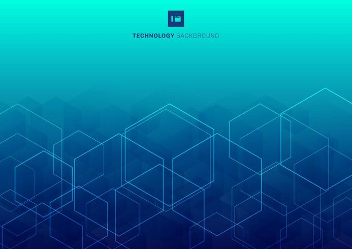 Hexagones de lueur blanche abstraite qui se chevauchent modèle sur le concept de technologie de fond bleu. vecteur