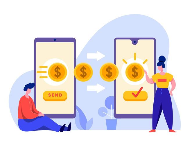 Transfert d'argent en ligne avec mobile vecteur