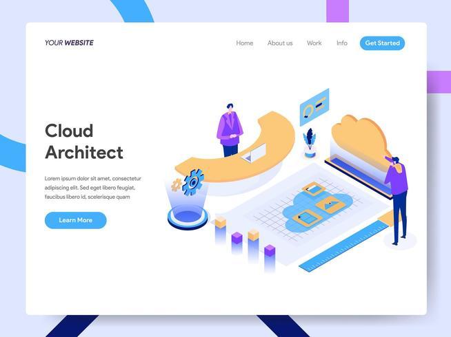 Modèle de page d'atterrissage de Cloud Architect vecteur