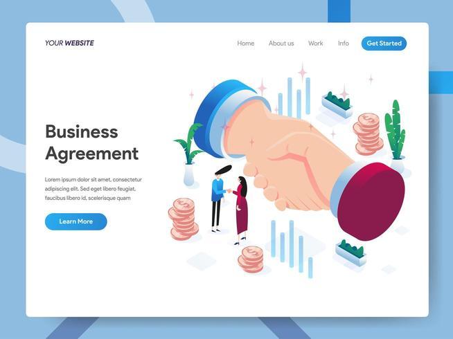 Modèle de page de renvoi d'un accord commercial vecteur