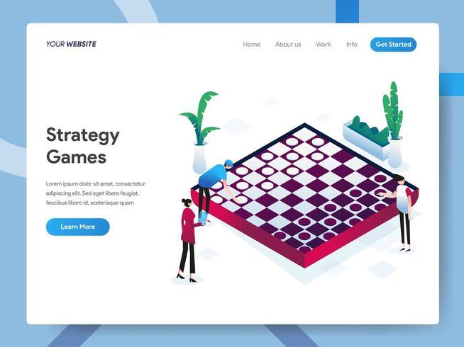 Modèle de page de destination des jeux de stratégie vecteur