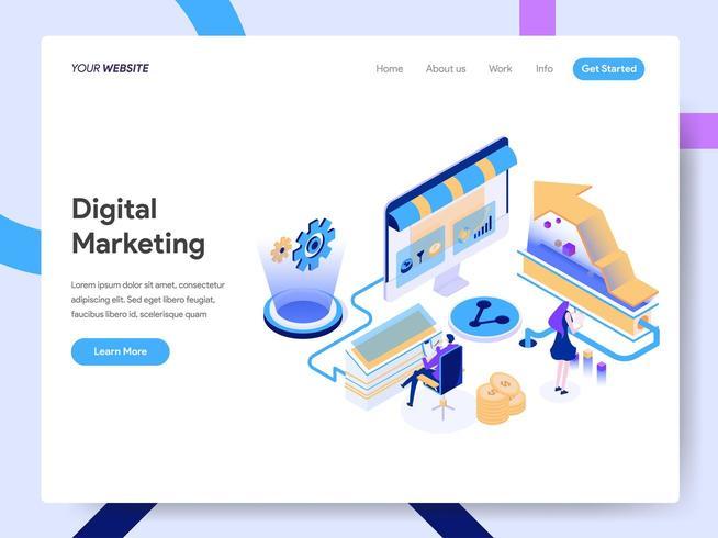 Modèle de page de destination du consultant en marketing numérique vecteur