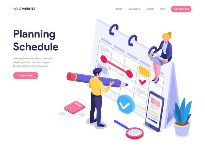 Concept de planification d'horaire. vecteur