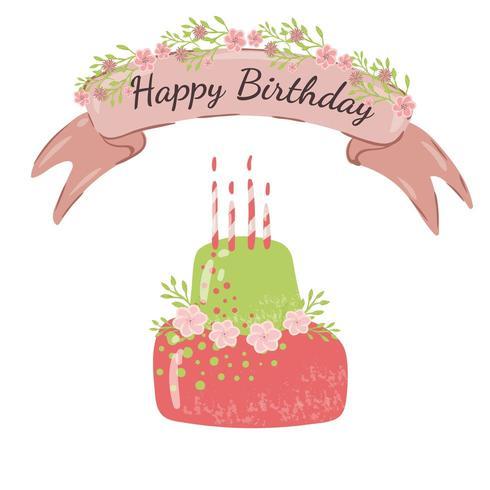 Carte De Joyeux Anniversaire Avec Joli Gateau Vert Rose Telecharger Vectoriel Gratuit Clipart Graphique Vecteur Dessins Et Pictogramme Gratuit