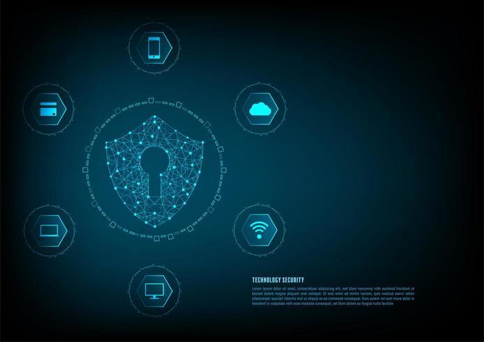 Icône de cadenas avec trou de serrure entouré par des icônes de la technologie vecteur